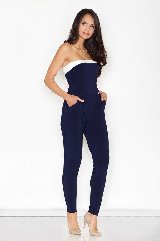 Navy jumpsuit based on the bust
