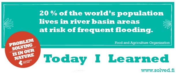 20 % of the world's population lives in river basin areas at risk of frequent flooding.