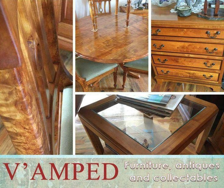 Look at these: a beautiful rippled hard pear table with four matching chairs, a hard pear and stinkwood chest of drawers and a hard pear and glass coffee table available at #VampedFurnitureAntiqueAndCollectables . Contact Rory on 076 983 4008 for more information. Delivery available nationwide on arrangement.