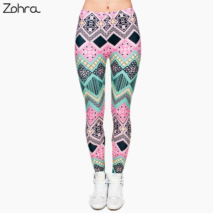 Zohra a estrenar de la manera azteca impresión legins punky de las mujeres legging elástico pantalones casual slim fit pantalones leggings