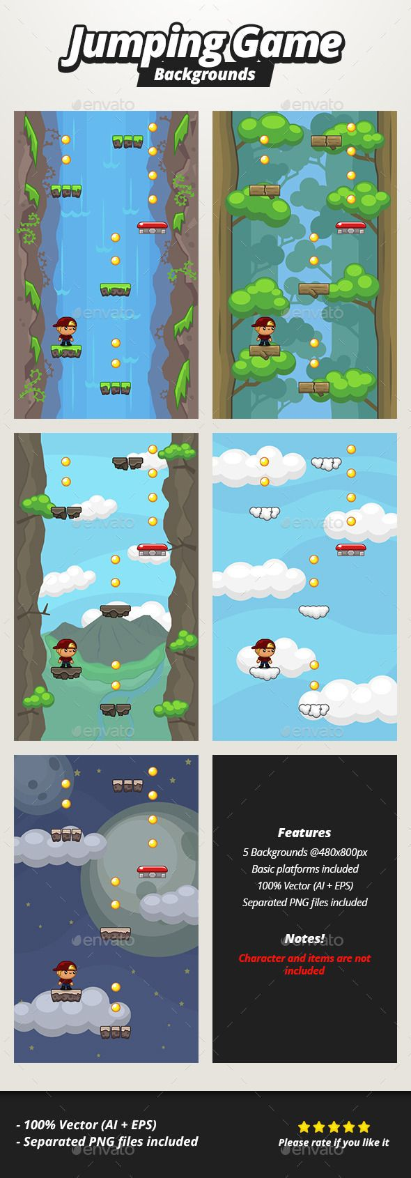 Jumping Game Backgrounds - Backgrounds Game Assets