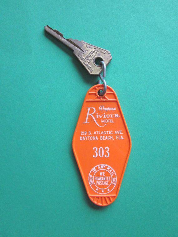 Vintage Hotel Room Key Number 303 Dayton Riviera Motel Daytona Beach, Fla.
