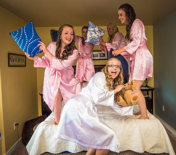 Silk Kimono Plain Bridesmaid SET OF 5 by WeddingPrepGals on Etsy