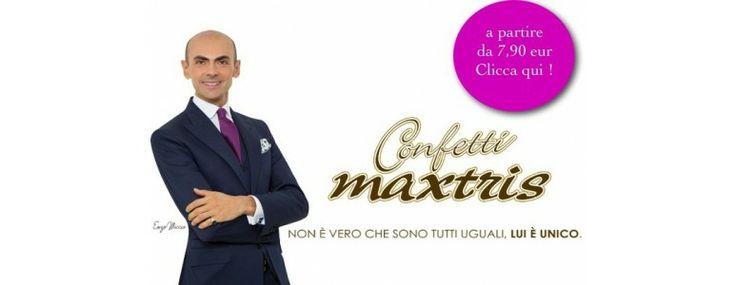 Enzo Miccio pubblicizza i buonissimi confetti di Maxtris. Tantissimi gusti in vendita su www.EmporioEventi.it