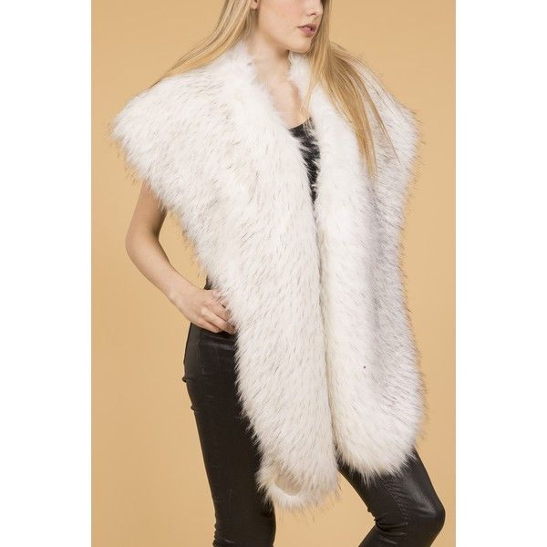 Jayley Cream Faux Fur Wrap found on Polyvore featuring women's fashion, accessories, scarves, fake fur scarves, faux fur stole, fake fur shawl, fake fur stole and cream shawl