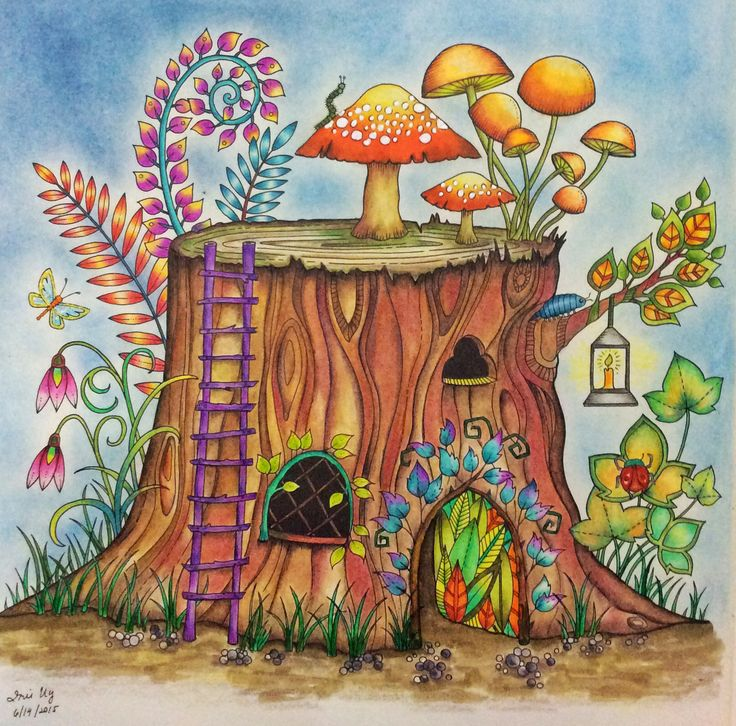 From Enchanted Forest, watercolor pencils, and colored pencils