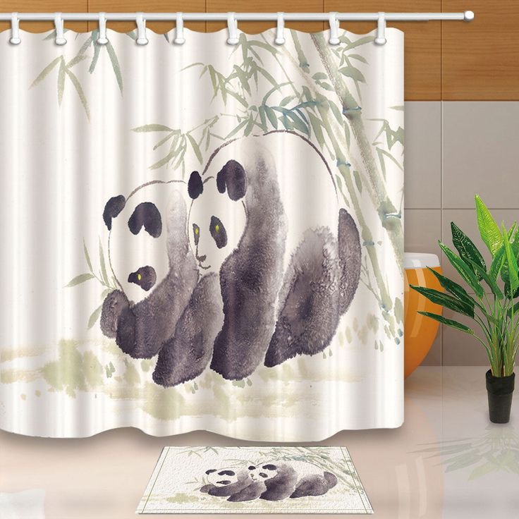 Panda And Bamboo Ink Painting Bathroom Fabric Shower Curtain Set 71Inches Long