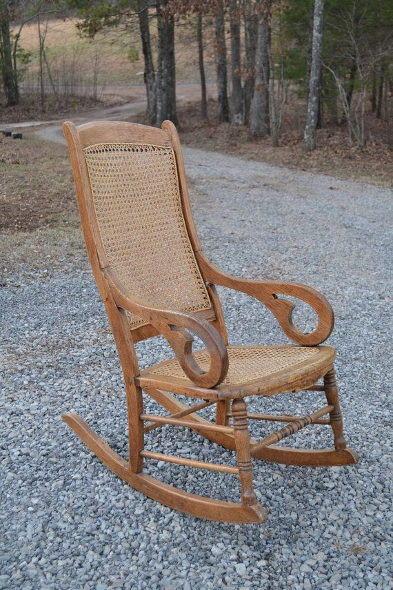 oak rocking chair cane back and seat antique by