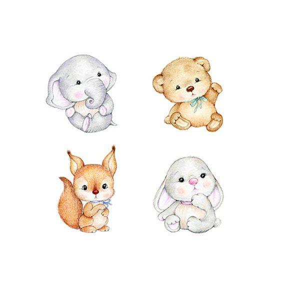 Ours, éléphant, lapin, écureuil pépinière ensemble, pépinière Animal Print, impression d'Art enfants, Kids Wall Art, Art de chambre bébé garçon, décoration chambre d'enfant fille