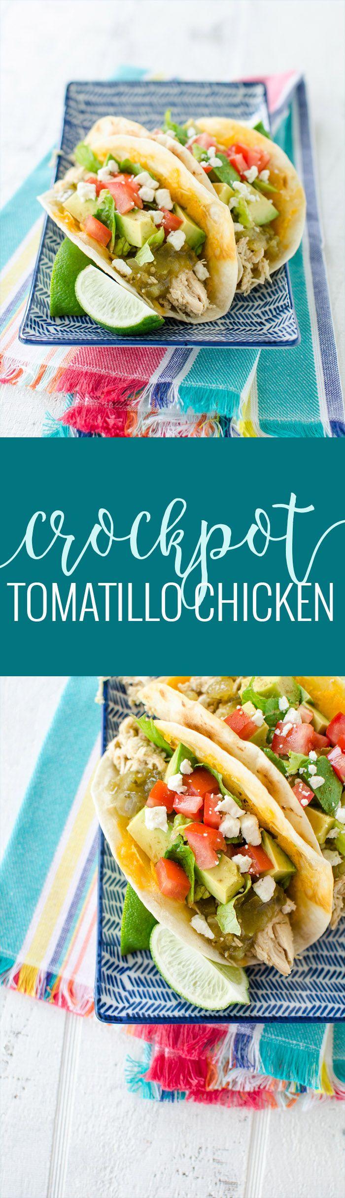 Crockpot Tomatillo Chicken | crockpot dinner recipes | crockpot chicken recipes | easy chicken for tacos | easy taco recipes | crockpot meal ideas | crockpot dinner recipes | slow cooker chicken recipes | tomatillo flavored recipes || Oh So Delicioso