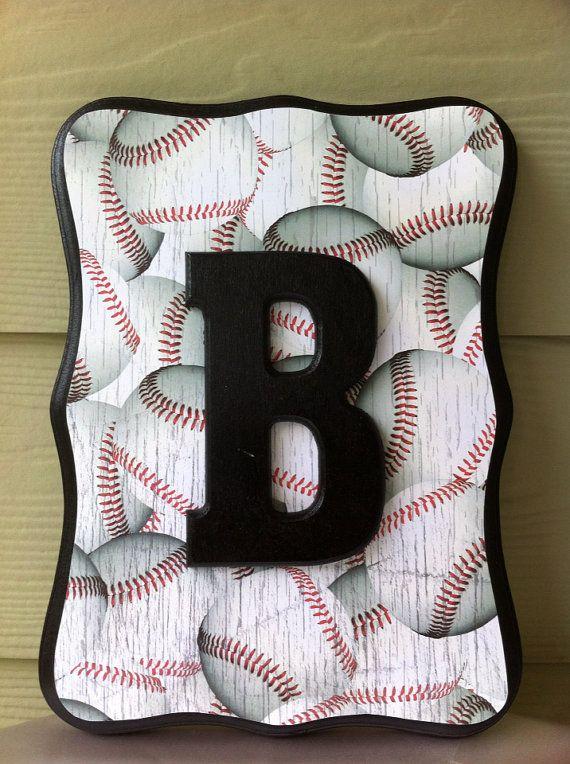 Red and Black Baseball Sport theme boys room or baby nursery