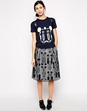Wood Wood x Disney Zoe Skirt in Mickey Print with Mesh Overlay