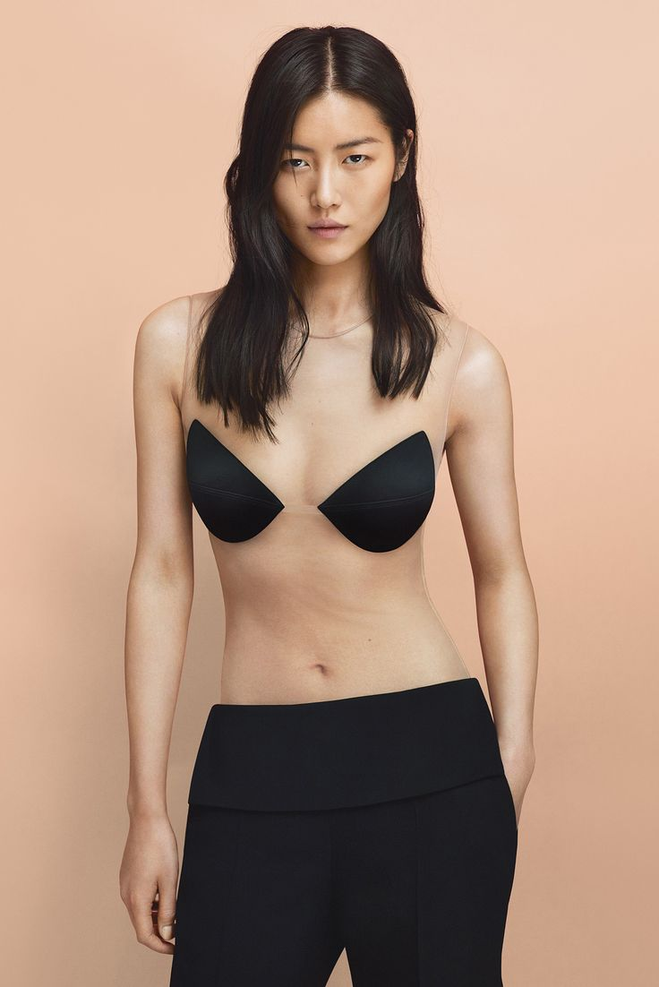 Liu Wen wears the Leisuring tulle bodysuit with contrasting cups