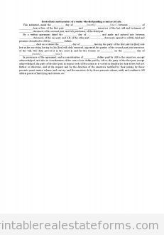 Sample Printable deed of heir and executors of a vendor who died pending a contract of sale Form