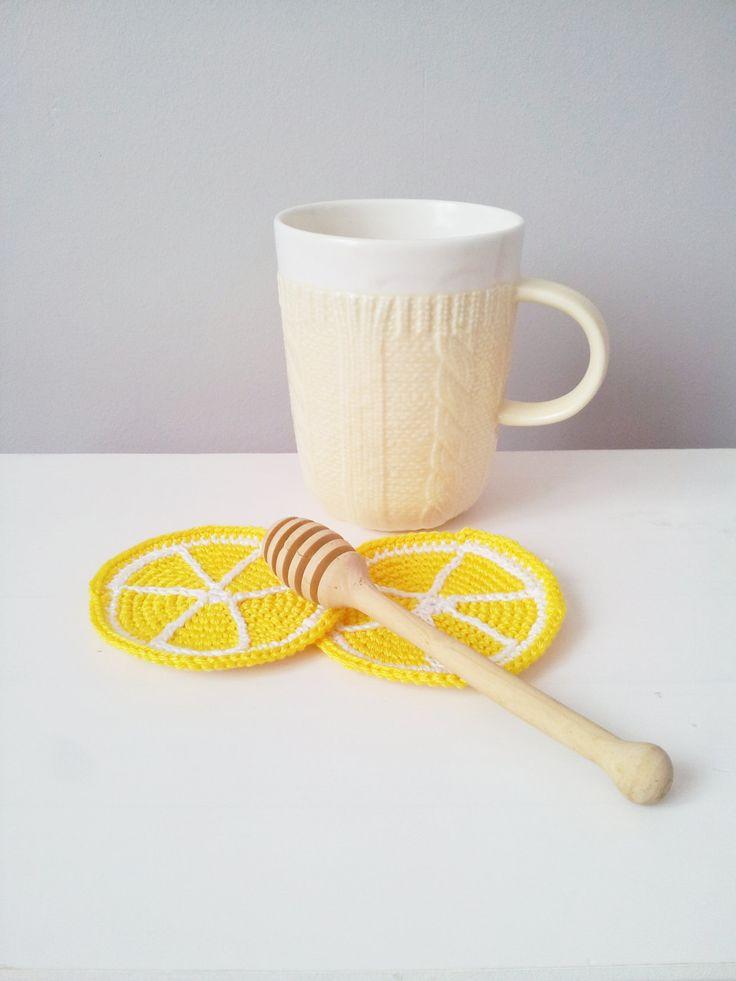 Lemon Coasters #serving #table set up # lemon #coasters #crochet
