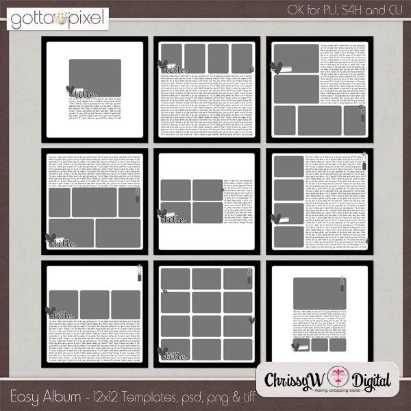 7 best mini album template images on pinterest mini albums mini easy album 12x12 templates gotta pixel digital scrapbook store pronofoot35fo Gallery