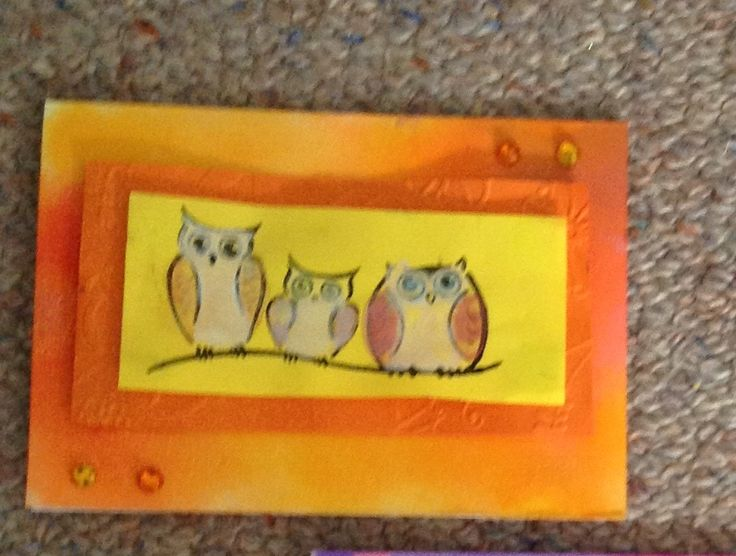 Annabella's ink and  owl stamp card :))  Oct 2014