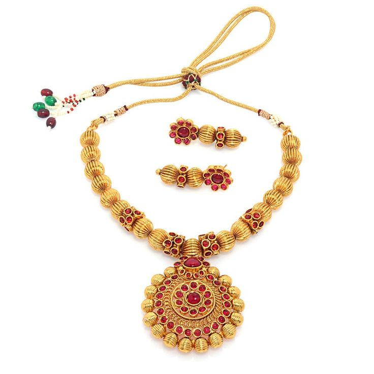 Attractive Pearl Necklace in golden colour. Occasion: Wedding & Traditional wear Shop Now:https://goo.gl/wu6X9n