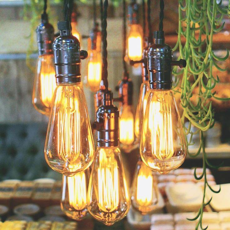 Edison bulbs at Terrain Westport CT by @featherandflint   Feather & Flint   Terrain shop, Terrain restaurant, Terrain Westport Connecticut, Edison lightbulb, Edison lightbulbs, light fixture, vintage lightbulbs, light fixtures