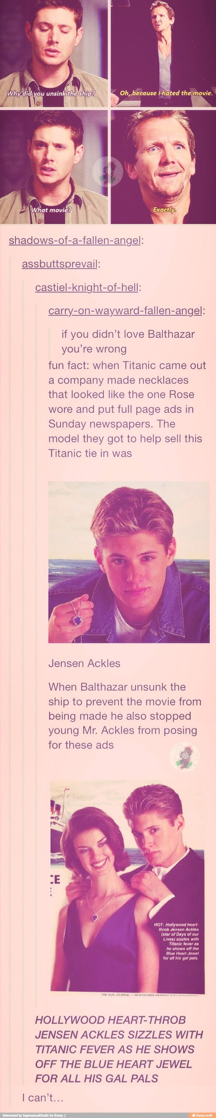 Bahaha this is too funny and I'm pretty sure I had one of these! #supernatural #90s #titanic #jensenackles
