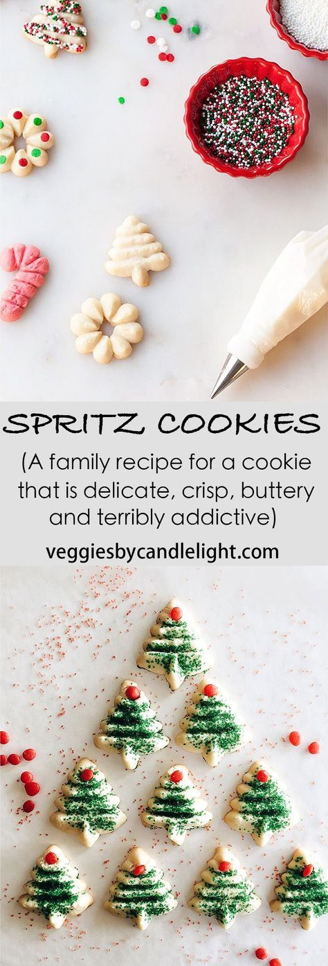 Spritz Cookies ( A Family Recipe) - A cookie that's delicate, crisp, buttery & terribly addictive. There are many good reasons to make them & justify eating a forest's worth
