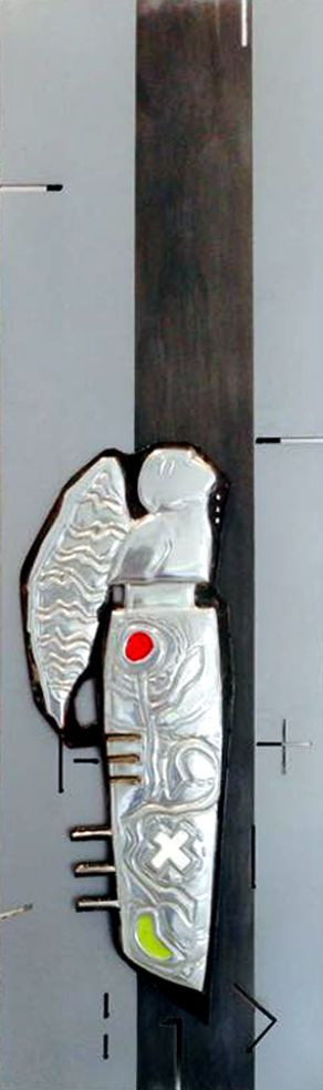 The Stargazer 230 x 590 mm Pewter, Enamelling, Mild Steel, Etching Artist Martie Bitzer