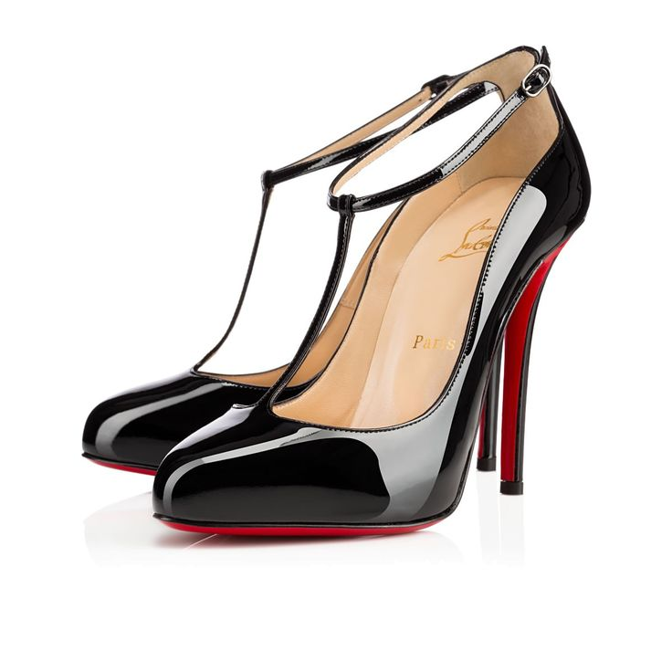christian louboutin pointed-toe T-strap pumps Black patent leather ...