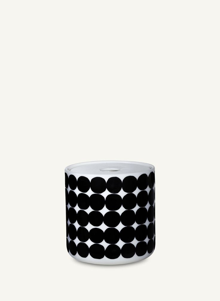"MARIMEKKO. ""Oiva/ Siirtolapuutarha"" ceramic jar with lid, 0,7 litres. Also a smaller and a bigger jar available. EUR 42."