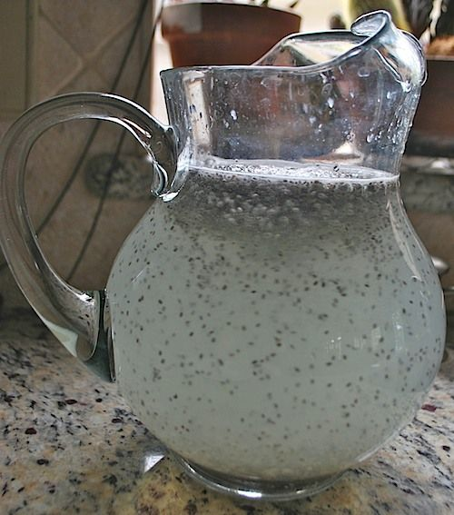 Mexican Chia Natural Lemonade! 4-5 limes  1/2 cup of sugar or other sweetener, I use agave nectar, 3T chia seeds, pitcher of cold water.  When adding the seeds make sure you are stirring to avoid clumping of the seeds.