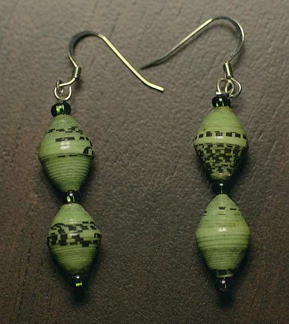 mint green paper bead earrings by forthefatherless on Etsy, $10.00