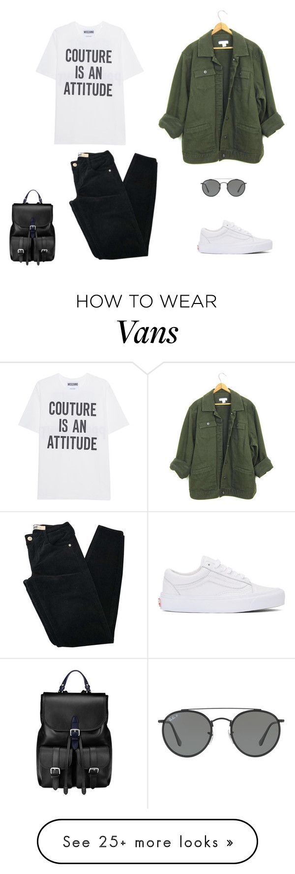 """Başlıksız #159"" by ayselciki on Polyvore featuring Vans, Moschino, Brandy Melville, Ray-Ban and Aspinal of London"