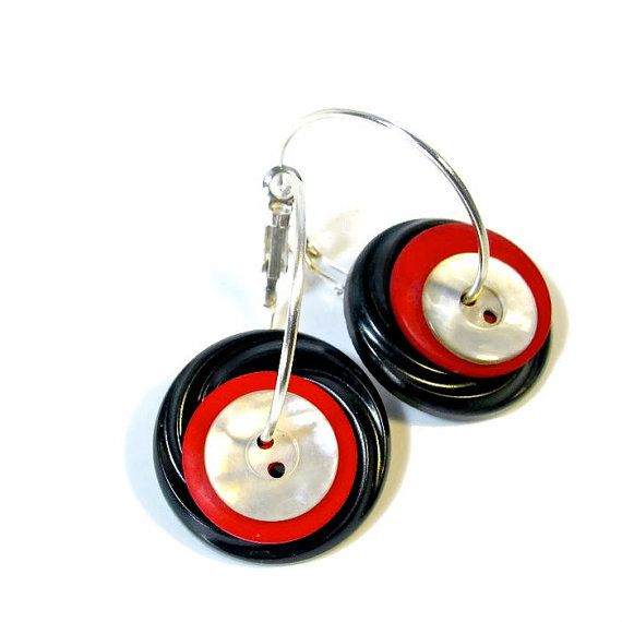 Upcycled Button Earrings Red and Black College by BluKatDesign