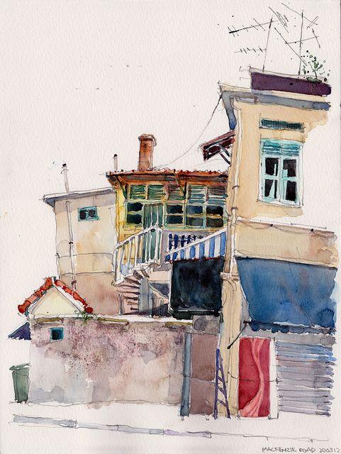 watercolour houses
