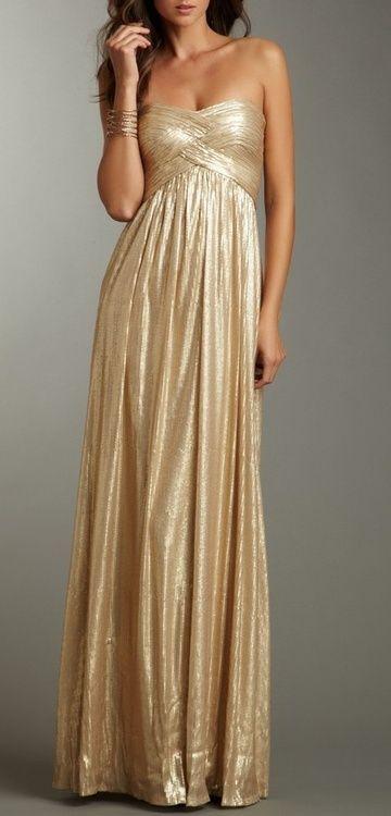 White and Gold Wedding. Gold Bridesmaid Dress.  carleighfromcarolina:    Want.
