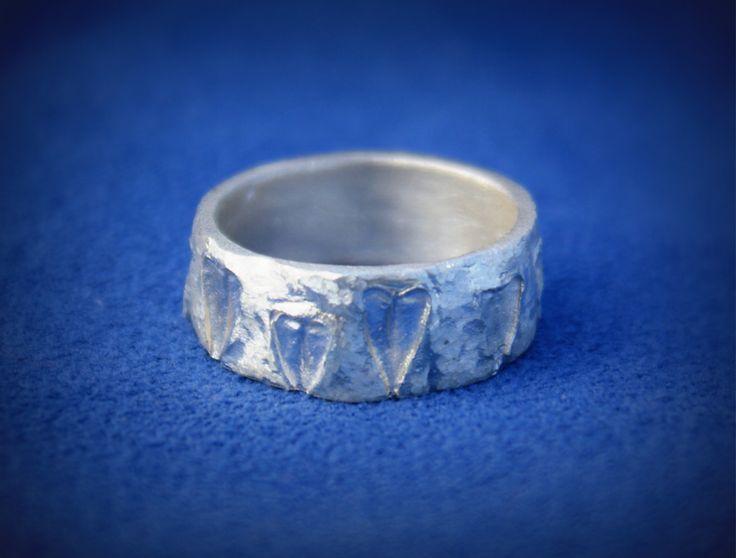 ring silver clay (liście tasznika) - little silver heart