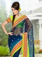 Swish blue and neon green shaded saree: KSR2239
