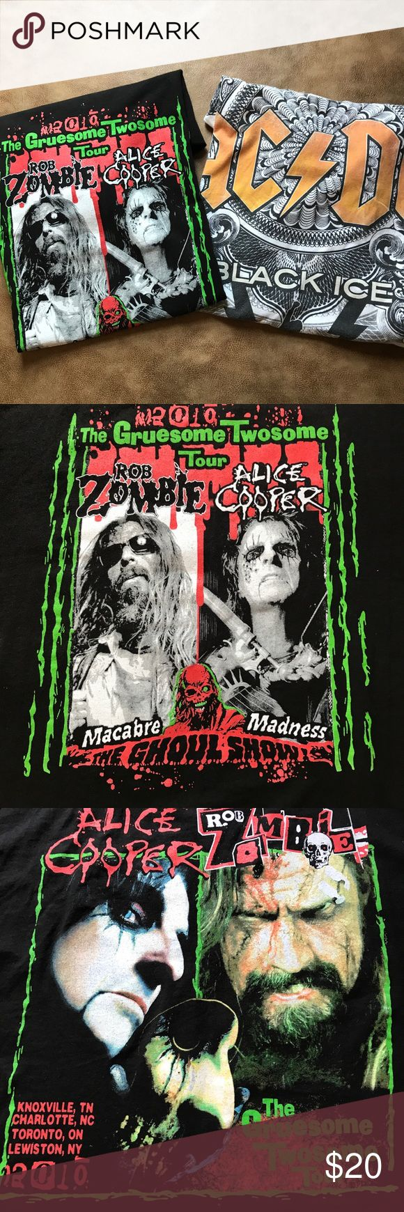 AC/DC, Alice Cooper, Rob Zombie Tshirt bundle Bundle of two T-shirts:  •The Gruesome Twosome tour 2010 with Alice Cooper and Rob Zombie in size XL and AC/DC Black Ice in size XXL. The AC/DC shirt has stains. Please see pictures for details. Thanks for visiting my closet! various Shirts Tees - Short Sleeve