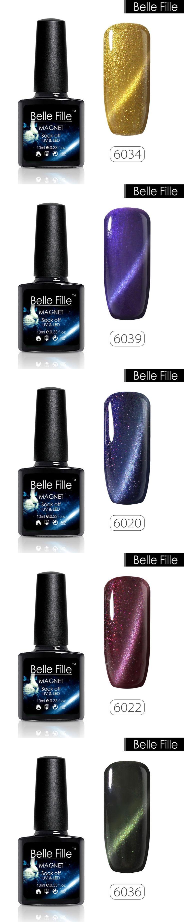 Belle Fille Cat Eye Gel Nail Polish Glitter 3D Soak Off UV Gel Polish Magnetic Varnish Magnet Blue Sapphire Manicure Varnish