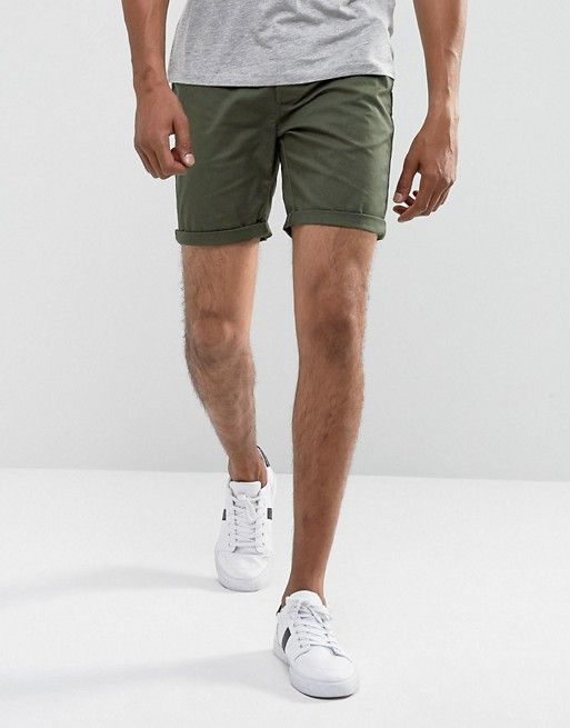71c21620d8 DESIGN slim chino shorts in dark khaki in 2019 | Men's wear | Chino shorts,  Slim chinos, Mens slim shorts