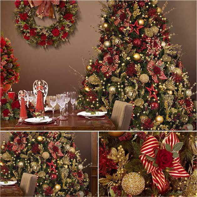decoracao arvore de natal vermelha e dourada : decoracao arvore de natal vermelha e dourada: De Natal Vermelho no Pinterest