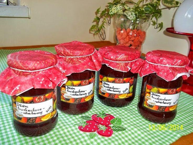Maminek kulinarny: Dżem truskawkowo - rabarbarowy
