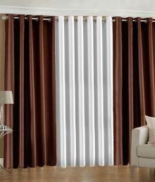 Flano Plain Eyelet Curtain 5 Feet (Set of 3) - Brown & White