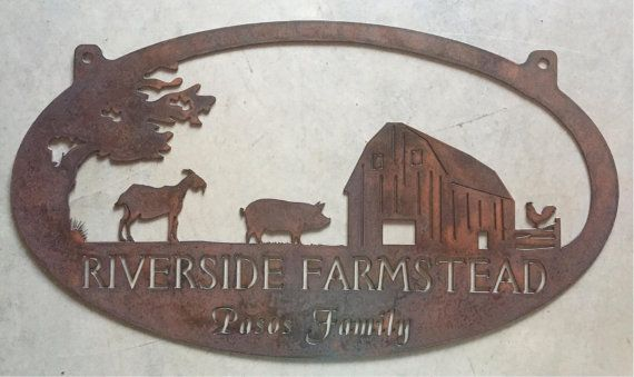 Personalized Metal Sign with  barn and goat,pig , chicken scene customized with your name