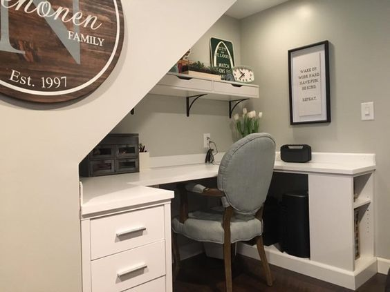 I ripped out an old dark closet under our basement stairs and created a built-in work space / desk! What do you think? I gave a brief overview of the foundation pieces I used on the blog.