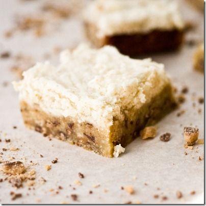 Heath Bar Blondies with Brown Butter Frosting, no joke
