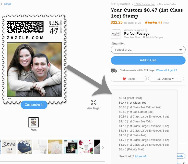 Here's how to change the postage value on Zazzle. You can select postcard rate, first class, square envelope values and more! ♥ Repinned by Annie @ www.perfectpostage.com