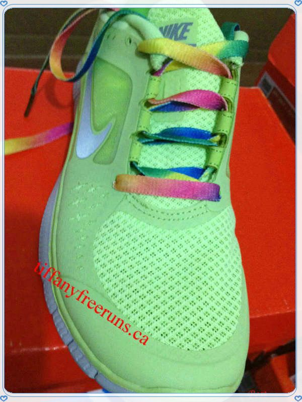 Womens Nike Free Runs 3 Liquid Lime Reflective Silver Pro Platinum Volt  Rainbow laces