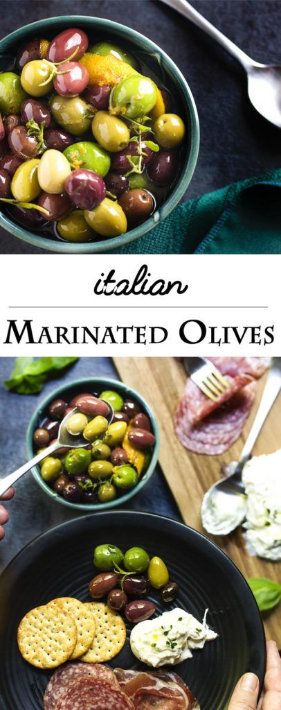 Italian marinated olives are an easy party appetizer of mixed olives, citrus, and herbs which takes only a few minutes to put together. | justalittlebitofbacon.com