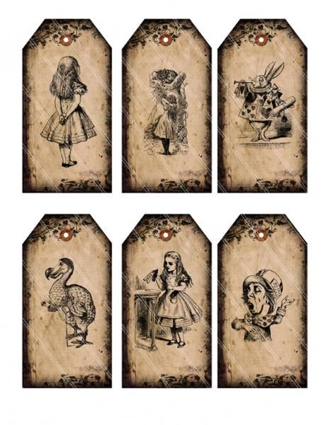 Alice in Wonderland tags printable gift tags digital Collage Sheet 186  by VectoriaDesigns