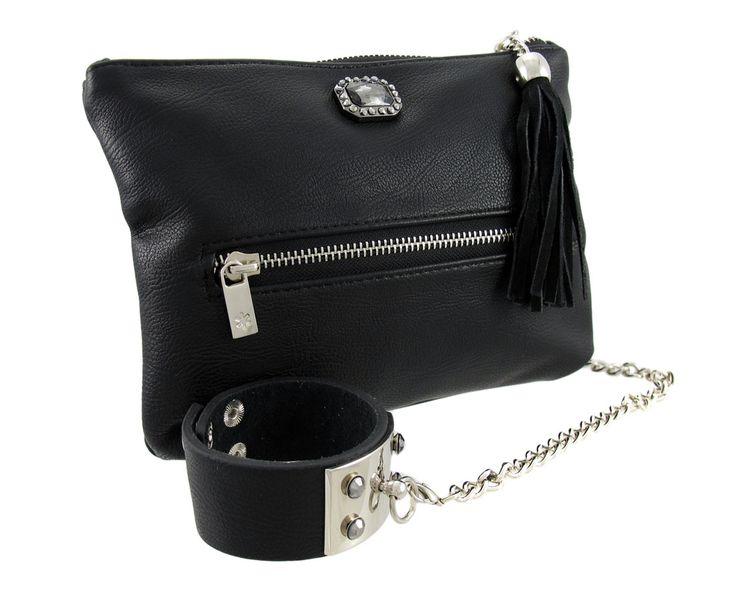 Rhinestone Accented Black Leather Evening Bag w/ Wristband Strap - $24.97. https://www.tanga.com/deals/ee02f182876f/rhinestone-accented-black-leather-evening-bag-w-wristband-strap